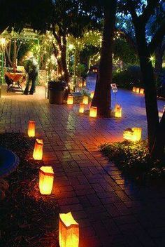 Wedding reception lighting - luminaries around perimeter of party & 13 Outdoor Lighting Ideas | celebrate | Pinterest | Easy decorations ...