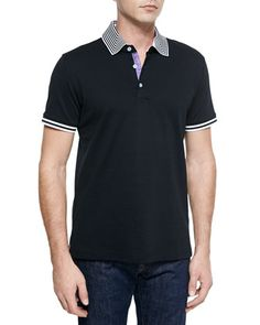 Axel Knit Short-Sleeve Pique Polo Shirt, Black by Robert Graham at Neiman Marcus.