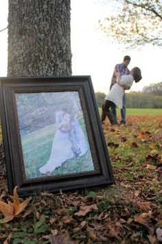Anniversary idea -- take a picture each year with your favorite wedding photo. It would be fun to see how you change through the years -- could have kids in picture as well.