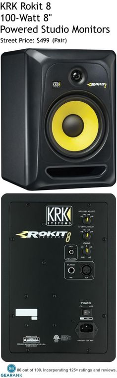 "KRK Rokit 8 100W 8"" Powered Studio Monitors.  Features: Bi-amped, class A/B amplifier offering large headroom and low distortion - Proprietary waveguide optimized for superior imaging - 1 Soft-dome tweeter provides pristine clarity and extended response up to 35kHz - High-frequency adjustment tailors the system to personal taste.  For a Detailed Guide to Studio Monitors Under $1000 see https://www.gearank.com/guides/best-studio-monitors"
