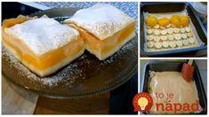 Broskyňová lahôdka s lístkovým cestom a piškótami: Úžasne jednoduchý koláčik, ktorý si zamiluje celá rodina! Pudding, Desserts, Food, Tailgate Desserts, Deserts, Custard Pudding, Essen, Puddings, Postres
