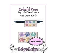 Colorful Paws Pen Wrap-Beaded Flat Peyote Pattern