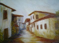 Sarajevo Bosnian old street Original Oil Painting *Bosanska Mahala*