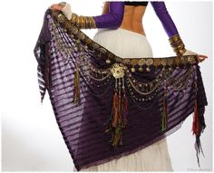 Tribal Belly Dance Belt Hip Scarf  Yet another shot of the purple scarf.