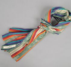SELVEDGE GUATEMALAN HAND-WOVEN SCARF, TURQUOISE IKAT / MULTI STRIPE :: HICKOREE'S HARD GOODS