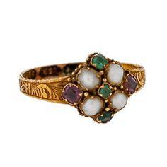 Georgian 15kt Emerald Amethyst & Pearl Cluster Ring