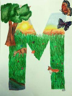 BB en V. Illuminated letter Art Ed central grade Middle School Art Projects, High School Art, Elementary Art Rooms, Art Lessons Elementary, 7th Grade Art, Art Curriculum, High Art, Letter Art, Art Classroom