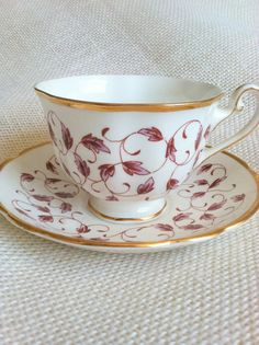 Vintage Grosvenor Bone China England Tea Cup and Saucer