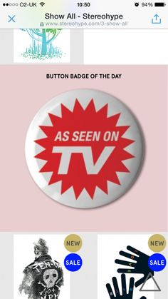 http://stereohype.com @stereohype's Button badge of the day (and therefore £0.50 off, today £1) @flat33