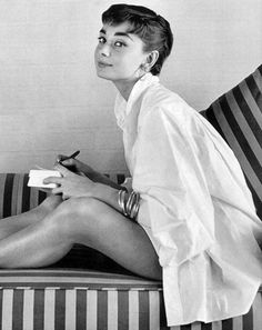 White men's shirt on Audrey Hepburn