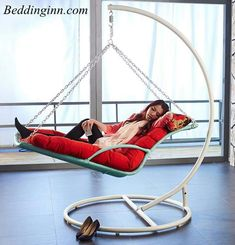 Love it SwingChair indoorhammockchair is part of Swinging chair - Iron Furniture, Unique Furniture, Furniture Design, Indoor Hammock Chair, Hammock Swing, Home Interior, Interior Design Living Room, Hanging Beds, Swinging Chair