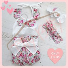 Win 3 Piece Set vintage floral Set from Itty Bitty Boutique Ltd