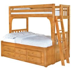 Found it at Wayfair - Twin / Full Bunk Bed in Honey