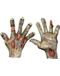 Reach for all the brains you can get when you top off your realistic looking undead costume with these Zombie Rotten Hands. The rubber latex gloves are designed to look like rotting skin, so your zombie will be the most authentic!