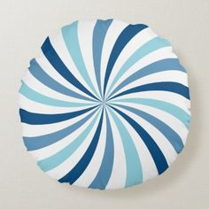 Modern Blue Lollipop Swirl Round Pillow