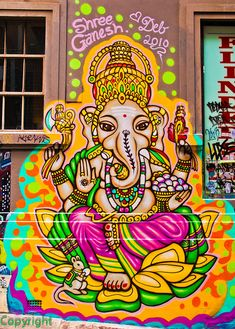 Hindu street art of Ganesha Murals Street Art, Street Art Graffiti, Street Art Melbourne, Graffiti Artwork, Graffiti Wallpaper, Graffiti Artists, Graffiti Lettering, Psy Art, Zentangle