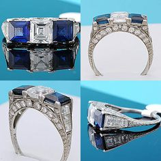 Spectacular approx 1.1ct Asscher Cut, square cut sapphire, French cut diamond, round diamond & intricately etched platinum Art Deco ring, circa 1925