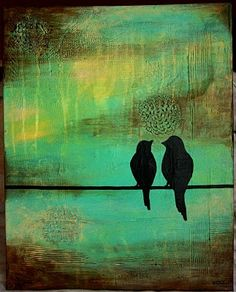 Would look awesome on my chocolate brown walls ♥ Two Birds, Love Birds, Brown Walls, Art Studies, Medium Art, Bird Feathers, Painting Inspiration, Diy Art, Creative Art