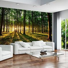Huge wall mural photo wallpaper non-woven Forest Sunset Landscap Nature Wallpaper, Photo Wallpaper, Wall Wallpaper, Wallpaper Ideas, Forest Wallpaper, Unique Wallpaper, Poster Mural, Mural Wall Art, Forest Sunset