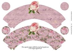Single Shabby Rose on Pink Cupcake Wrappers on Craftsuprint designed by Jean King - Single Shabby Rose on Pink Cupcake Wrappers. These cupcake wrappers will fit the normal sized cupcake cases or can easily be adjusted to fit, just cut out