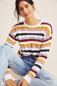 Magdalenas y cachemir Rach Pullover con textura - All Fashion, Autumn Fashion, New Outfits, Summer Outfits, Emily Schuman, Cashmere Sweaters, Women's Sweaters, Striped Sweaters, Oversized Sweaters