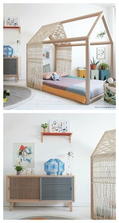 house bed with minimal furnishings