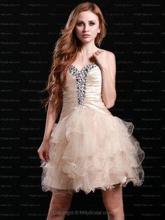 A-line Sweetheart Tulle Short/Mini Champagne Rhinestone Homecoming Dress