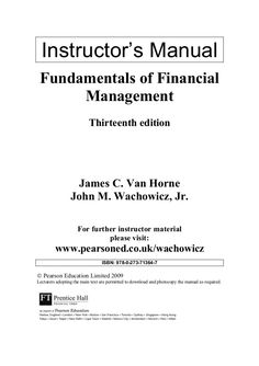 Test bank downloadable for fundamentals of financial management instructors manual fundamentals of financial management thirteenth edition james c van horne john m fandeluxe Images