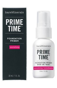 bareMinerals® 'Prime Time' Neutralizing Foundation Primer | Nordstrom. This primer totally neutralizes redness. Anyone suffering from redness needs this product - a must have to perfect any skin and great way to create long wearing foundation.