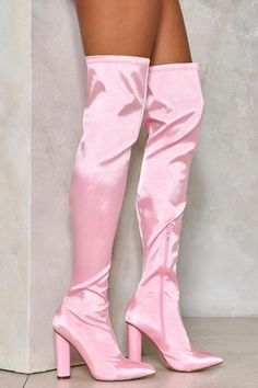 The Zero Tolerance Boot comes in satin and features a block heel, inside zip closure, almond toe, and over-the-knee design. Thigh High Boots, High Heel Boots, Heeled Boots, High Heels, Pink Knee High Boots, Fancy Shoes, Pretty Shoes, Cute Shoes, Pink Boots