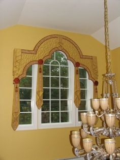 I would use pastel colors instead picturetrail.com Contemporary Window Treatments, Arched Window Treatments, Window Treatments Living Room, Custom Window Treatments, Window Cornice Diy, Window Cornices, Window Coverings, Shaped Windows, Arched Windows