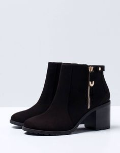 elegant black low classy modern minimalistic zip fall winter ankle boots f. Black Ankle Boots, Heeled Boots, Bootie Boots, Look Fashion, Fashion Boots, Minimalist Shoes, Modern Minimalist, Mein Style, Cute Boots