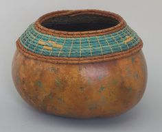 Turquoise and Copper Gourd with Coiled Rim  Item 558 by TxWeaver, $65.00