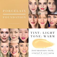 Porcelain MakeSense Foundation in Original and anti-aging formulas by SeneGence. Senegence Foundation, Makesense Foundation, Foundation Colors, Senegence Products, Makeup Collage, 2nd Wedding Anniversary Gift, Color Collage, Beauty Boutique