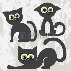 Vector conjunto de gatos negro de dibujos animados photo