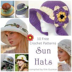Monday Link Blast: 10 Free Crochet Patterns for Sun Hats Crochet Cap, Crochet Round, Crochet Beanie, Free Crochet, Crochet Summer Tops, Crochet For Kids, Sombrero A Crochet, Crochet Accessories, Sun Hats