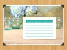 Printable Well Wishes Wedding Advice Cards For Weddings Or Bridal Showers, 4x6…