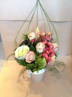The Bird Cage flower arrangement made by Twigs Florist Corporate Flowers, Bird Cage, Flower Arrangements, Glass Vase, Floral Wreath, Birds, Wreaths, Decor, Floral Design