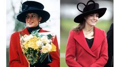 Diana in Sandringham on Christmas Day 1993; Kate attends the Sovereign's Parade at The Royal Military Academy in Berkshire in 2006.   - ELLE.com