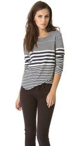 Vince :: Variegated Stripe Shirttail Tee:: @Shopbop #weekendgetaway #vince #stripes #tee #fallstyle #blackandwhite
