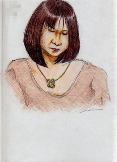 This is a sketch of the lady who put on the brown sweater I drew in the train.