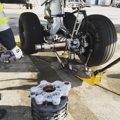 Throwback to switching aircraft brakes #throwbackthursday #tbt #internship #mechanic #aircraft #jet #wheels #awesome #science #engineering