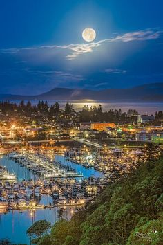 Super-moon set over Anacortes this morning. From Cap Sante viewpoint. By Rakan AlDuaij Photography