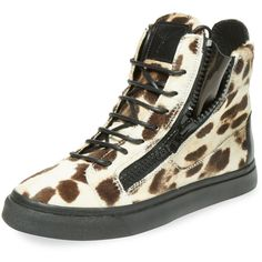 Giuseppe Zanotti Animal Print Calf Hair Hi-Top ($299) ❤ liked on Polyvore featuring shoes, sneakers, brown, high top sneakers, hi tops, pony hair sneakers, animal print shoes and animal print sneakers