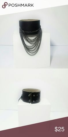 "Edgy Leather Cuff Bracelet Embrace your inner rock star with this leather cuff bracelet featuring dangling chains Genuine leather  NWOT 1 1/4"" wide Fits up to 7 1/4"" wrist  Please check out my closet for other fabulous items! Reasonable offers welcome. Jewelry"