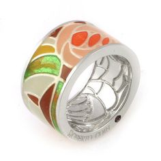 Art Deco Collection by Roberto Coin, Wide Ring, in Enameled Sterling Silver