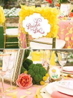 Beautiful Yellow & Coral Garden Bridal Shower