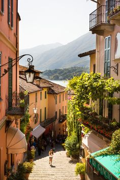 A lovely little street in Bellagio, Italy, on the shores of Lake Como.
