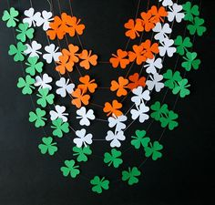 SALE 3 St Patricks Day Garland Irish garland St Patricks Day decorations Green Orange White Clover shamrocks garland St Patrick's Day by winifred Independence Day Activities, Independence Day Decoration, 15 August Independence Day, Indian Independence Day, San Patrick Day, Sant Patrick, School Board Decoration, Kite Decoration, Irish Decor