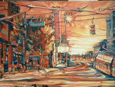 """""""Crossroads at Sunset"""" by Lisa Kanouse;  24x36 osd; $685"""